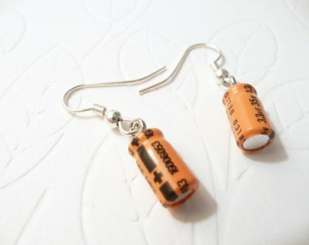 Computer Geek Earrings Orange Black, Small Recycled Capacitors, Electronic Components, Handmade Eco Friendly Jewelry