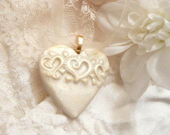 Wedding Jewelry, Ivory Heart Pendant, Bouquet Charm, Christmas Ornament