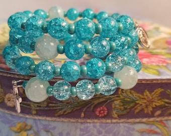 Blue Rosary Bracelet Wrap Around, Miraculous Medal, Catholic Jewelry, Prayer Beads Cuff Bracelet