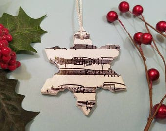 Snowflake Christmas Ornament Music Notes, Black and White, Musician Gift