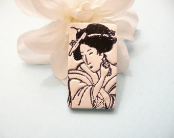 Oriental Face Pin, Geisha Brooch, Japanese Art Jewelry, Black and White