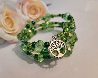 Stacked Bracelet, Green Beaded Bracelet with Tree of Life and Heart Charms, Wrap Around Memory Wire