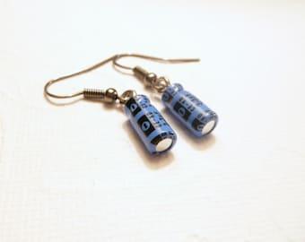 Blue Computer Geek Earrings, Recycled Capacitors, Gift for Nerd, Geek Sheek Jewelry, Handmade Eco Friendly Jewelry