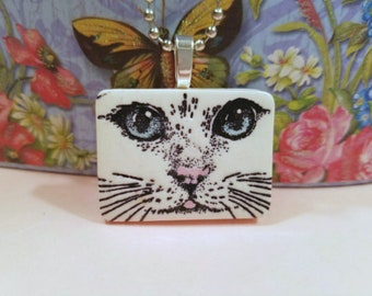Cat Jewelry, Cat Face Pendant Necklace or Pin, Green Blue or Gold Eyes