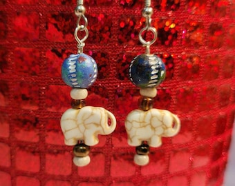 Playful Elephant Earrings, Boho Jewelry, Hand Painted Clay Beads