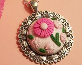 Pink Flowers Pendant Optional Chain, Gift for Gardener, One of a Kind Floral Design, Handmade Polymer Clay