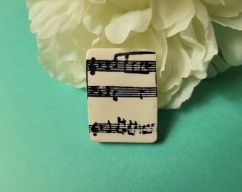 Black and White Music Pin, Gift for Musician, Choir Director Gift, Gifts Under 20, Music Lapel Pin