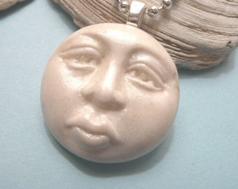 White Moon Face Pendant, Optional Necklace, Full Moon Jewelry, Celestial Charm