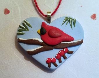 Christmas Ornament, Cardinal Heart Ornament or Cardinal Pin, Bird Lover Gift, handmade polymer clay