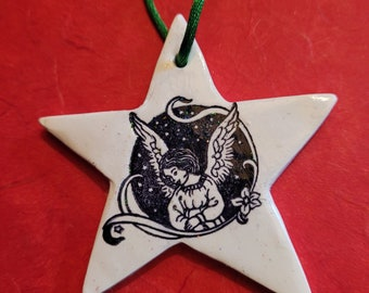 Old-Fashioned Christmas Ornament, Sparkly Angel Star, Teacher Gift
