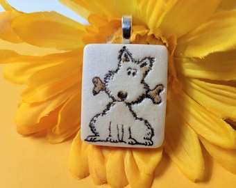 Cute Dog Jewelry, Dog Pendant or Necklace, Dog Lover Gift, Dog with Bone
