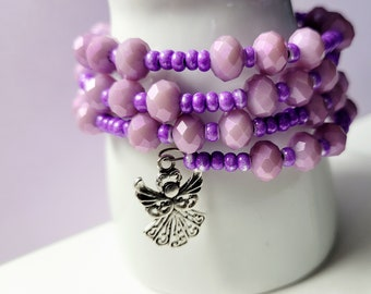 Memory Wire Bracelet, Angel and Heart Charms, Purple Lavender Beaded Stack Coil