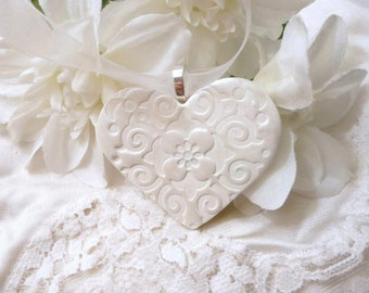 Christmas Ornament, White Hanging Heart Ornament, Neutral Natural Clay, Handmade Polymer Clay