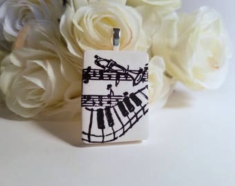 Music Pendant, Optional Necklace, Musician Jewelry, Black and White, Music Notes, Piano Player Gift, Trumpet Music Teacher Gift polymer clay