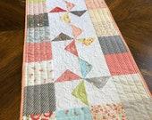 Printed Charm Square Table Runner Quilt Pattern, great beginner pinwheel pattern - Windmills