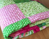 Pink and Green Patchwork Lap Quilt