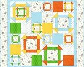 Printable Modern Baby Quilt Pattern PDF file - Monkey Around - Beginner Friendly, Instant Download, Churn Dash Block