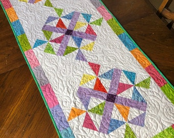 Pinwheel Parade PDF Pattern for table runner - finishes at 20 x 51 inches, great beginner project uses charm squares and additional fabric