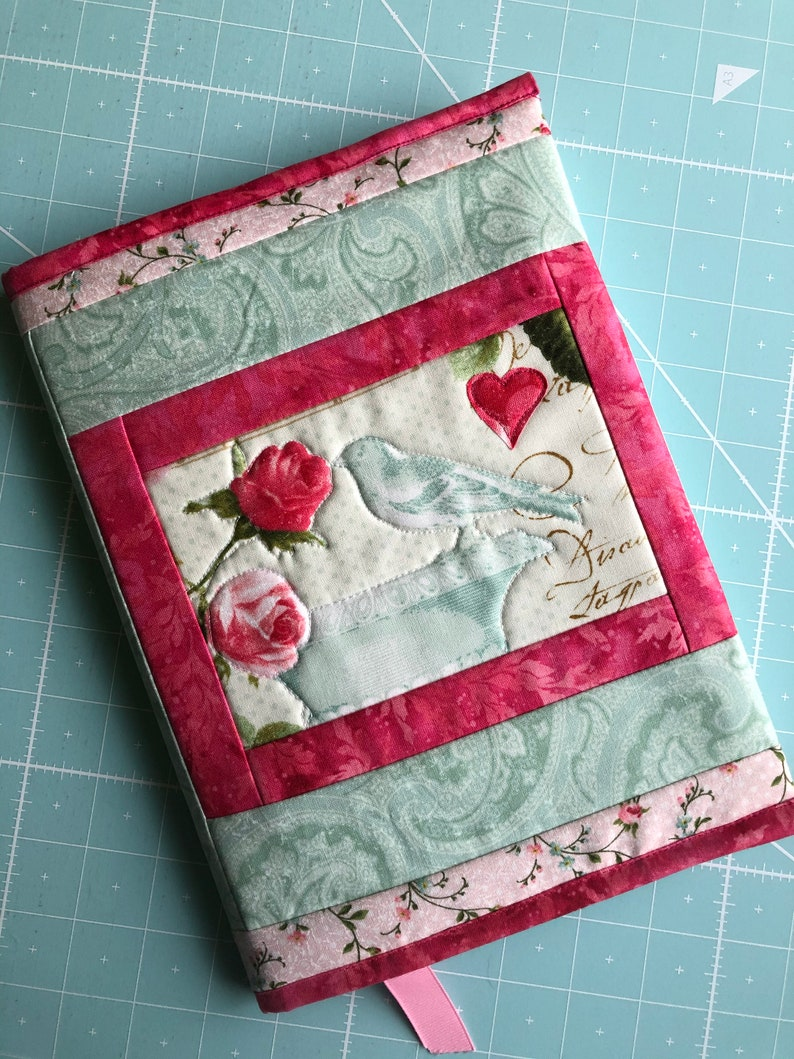Quilted Fabric Journal Cover  Pink and Mint green Roses image 0