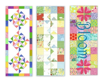 Spring Table Runner Pattern Bundle II, Three Charm square pdf patterns, Pattern Bundle featuring Windmills, Bloom and Pinwheel Parade