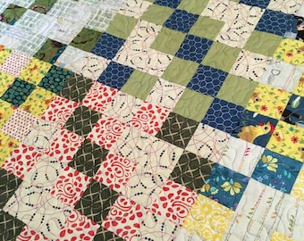 Quilted Wall Hanging - Lap Blanket -  Blue Green and Yellow - scrappy patchwork quilt - farmhouse decor - cottage chic, shabby decor