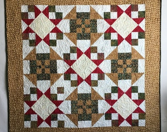 Batik Quilt, Handmade Quilt, Gold Red Green, Alpine Jingle, 45 x 45, Small Quilt, Quilted Wallhanging, Small Throw Quilt for sale