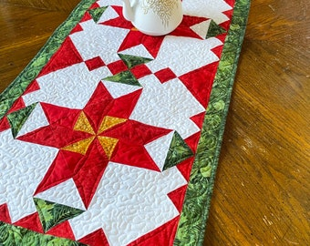 Christmas Flower Table Runner Pattern, Poinsettia, Holiday Decor, Red Green and Gold, pieced patchwork, Printed quilt pattern