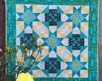 Patchwork Baby Quilt, Blue Teal and Yellow, Batik Quilt, Small Quilt, Baby Blanket, Twinkle Star, Wall hanging, Table Topper, Kitchen Print