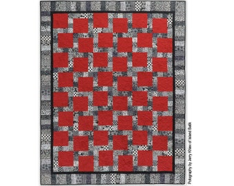 Strip Quilt pattern, printed copy of Lovers Kiss Quilt instructions using jelly roll strips or fat quarters