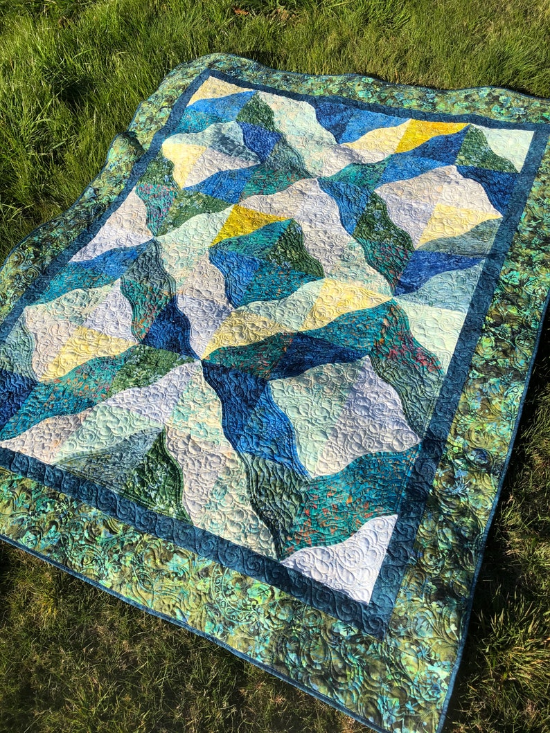Savanna Batik Quilt Twin size large lap in blue green and image 0