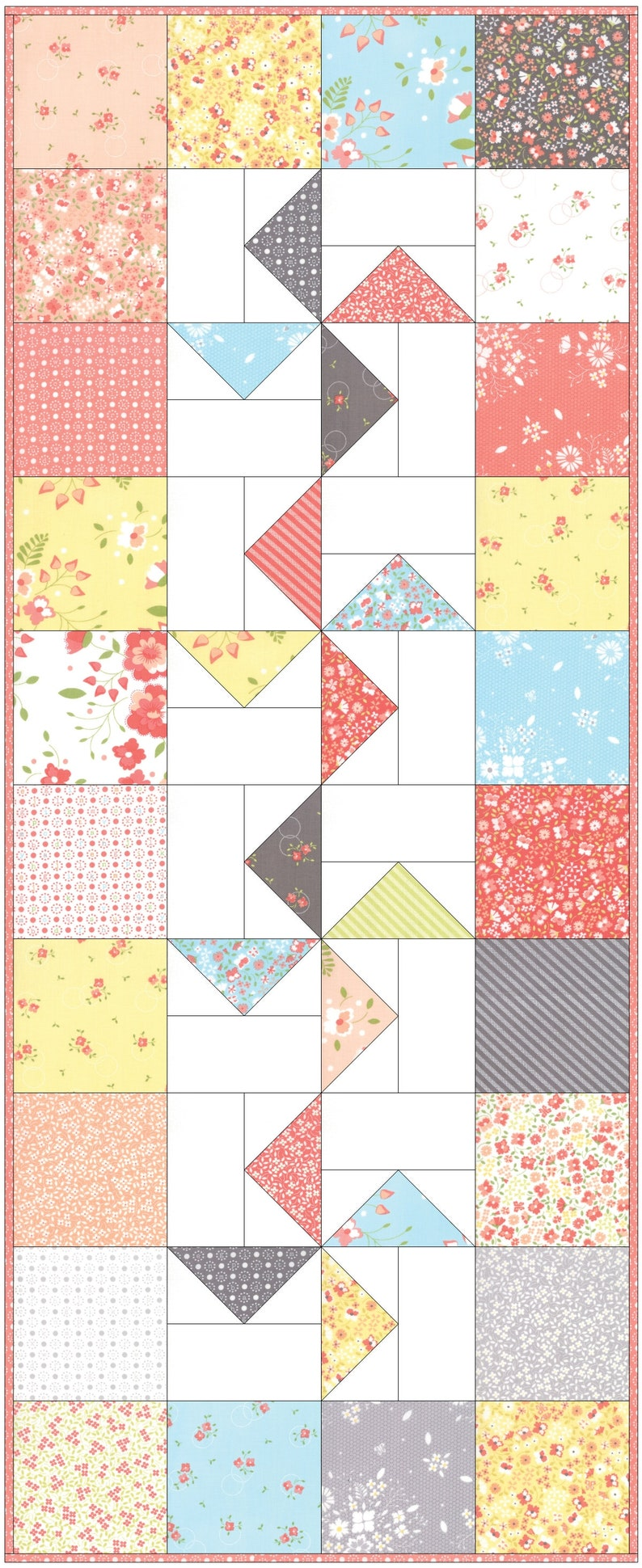 Charm Square Table Runner Pattern Windmills Quilted Table image 0