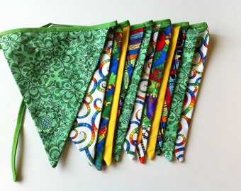 Bright Bunting, Jungle Fabric, Colorful Banner, Fabric Flags, photo prop, little boys, birthday party, fun home decor, Reversible flags