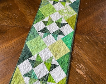 PDF Pattern Lucky Charm Table Runner, 13 x 39 inches, star blocks in green squares, beginner quilt pattern, charm square pattern