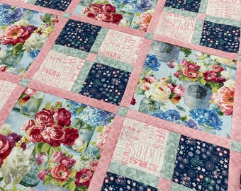 Sweet and Simple PDF Quilt Pattern for fast and easy quilt, beginner friendly, great for large prints - big block quilt pattern
