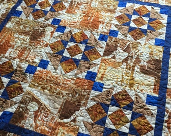 Wall Quilt, Egyptian Fabric, Wall Hanging, Royal Blue, Gold, Hieroglyphics, Jolie Quilt, Quilted wall Art, Small Quilt, home decor