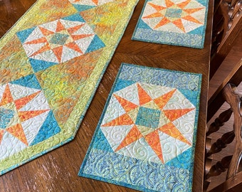 PDF Pattern, Peacock Paradise Table Runner and Placemats, Table Decor, Instruction for patchwork table runner