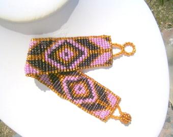 Peyote Stitch Beadwoven Bracelet, Pink Cranberry Amber, Beaded Peyote Bracelet, OOAK