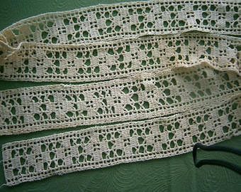 SALE Vintage Handcrafted Crocheted Lace Trim Mixed Lot #2, Antique Crocheted Trim