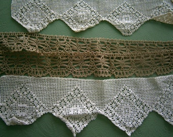 SALE Vintage Handcrafted Crocheted Lace Trim Mixed Lot #1, Antique Crocheted Trim