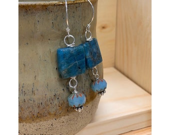 Turquoise and Yellow Sterling Silver Earrings by Anne More Jewelry