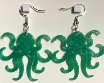 3D Printed Cthulhu Octopus Tentacle Earrings