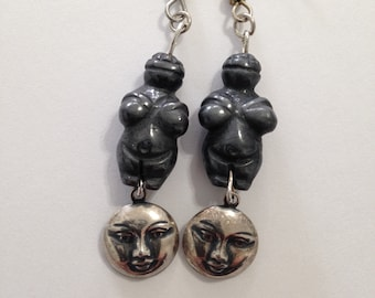 Midnight Venus Rising Full Moon Charm Earrings