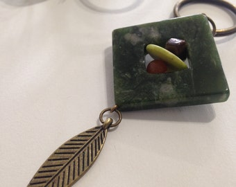Upcycled Jasper, Serpentine, and Tiger Eye with Antique Brass Keychain Zipper Pull