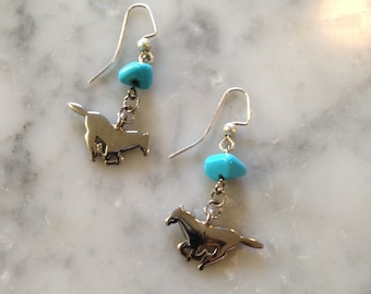 Stainless Steel Galloping Horse Charm Earrings with Blue Howlite Accents