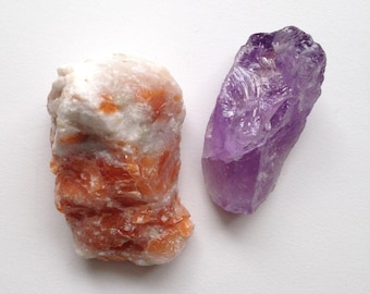 Orange Calcite and Amethyst Raw Stone Specimens for Meditation Prayer Healing Energy
