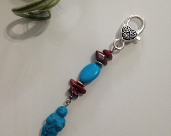 Blue Howlite Venus Charm for Zipper Pull or Key Chain