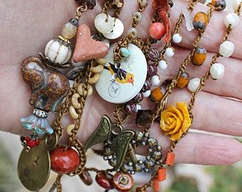 ONLINE CLASS Eclectic Beaded crochet necklace, please read description, bohemian jewelry class