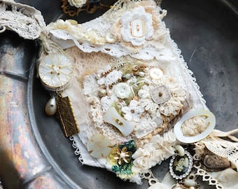 ONLINE class Shabby Chic, please read description, Slow Stitch Necklace, vintage DIY embroidery