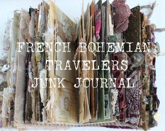 Online Junk Journal class, PLEASE read the description,  French Bohemian Travelers Junk Journal