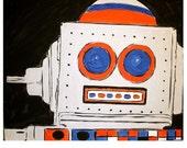 TIN the robot original painting by artist jennifer sandquist retro robot sci-fi fun toy children's room